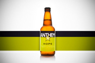 bottle of Anthem Oregon hard cider with hops