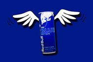 can of blueberry flavored Red Bull Blue Edition