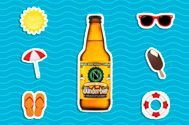 bottle of ninkasi brewing beer with a vector background